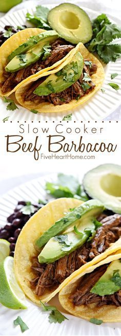 Slow Cooker Beef Barbacoa ~ flavored with smoked chipotles in adobo, fresh garlic, cilantro, and Mexican spices, this tender, juicy meat is an ideal filling for tacos, burritos, and quesadillas, or a tasty topping for rice bowls and salads | FiveHeartHome.com #mexicanfoodrecipes