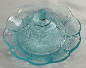Single Serving Size Aqua/ Ice Blue Individual Covered Glass Butter Dish
