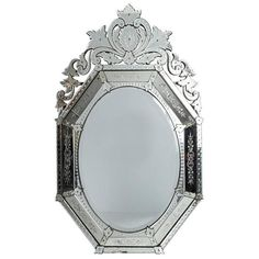 View this item and discover similar for sale at - Large Venetian mirror with beveled glass and ornate plume top. Venetian Mirrors, Beveled Glass, Wall Mirrors, Mirror Mirror, Antiques, Modern Wall, Chandeliers, Furniture, Bathrooms