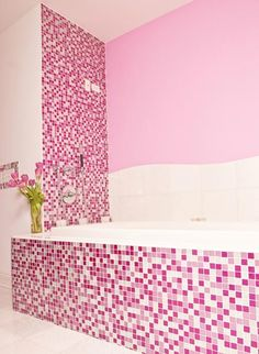 Pink Glitter Bathroom - contemporary - bathroom - new york - Susan Jablon Mosaics Glitter Bathroom, Glass Tile Bathroom, Bathtub Tile, Bathroom Kids, Bathroom Cabinets, Black Bathroom Floor, White Bathroom, Bathroom Interior, Rose Fuchsia