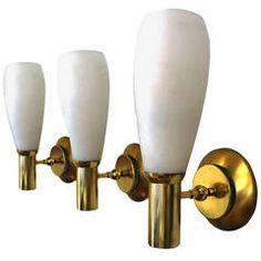 Set of Three Italian, Mid-Century Brass Sconces