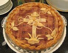My mom is known for her apple pies... not only do they taste good, but she decorates them so pretty for each occasion!