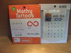 Mathy Temporary Tattoos.  Available at Best of Friends Gift Shop in the lobby of Winnipeg's Millennium Library. 204-947-0110 info@friendswpl.ca Gifts For Friends, Best Friends, G Tattoo, Math Puns, Make Your Own, How To Make, Just For Fun, Temporary Tattoos, Shop