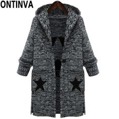 Plus Size Autumn Knitted Sweater Cardigans Woman Fashion Full Sleeve with Cap and Pockets Long Warm Sweater Coat 4XL 5XL #ONTINVA #sweaters #women_clothing #stylish_sweater #style #fashion