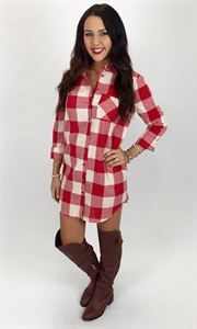 Picture of Picnic Plaid Tunic Dress. Adorable red plaid dress! Perfect for fall! Button up collard dress, tie belt!