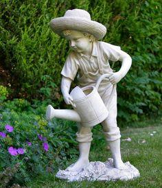 Boy Watering Garden Statue Ornament Figure A Wonderful Way To Enhance The  Garden