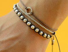 Woven sterling silver bracelet by zzaval on Etsy Friendship Bracelets With Beads, Woven Bracelets, Bracelets For Men, Diy Bracelet, Mens Silver Necklace, Sterling Silver Bracelets, Silver Ring, Silver Earrings, Le Cordon