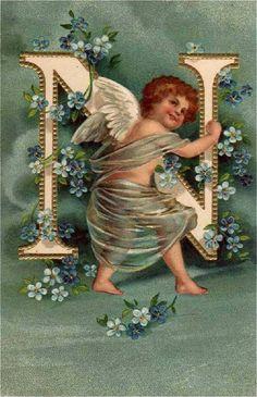 Винтажный алфавит с ангелочками