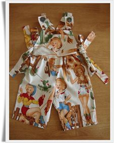 Baby Girls Dungarees in Vintage Cow Girl Fabric 0 by BabyTabitha, £16.00