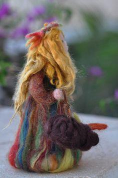 Needle Felted Waldorf  Wool FairyAutumnWaldorf by darialvovsky, Etsy