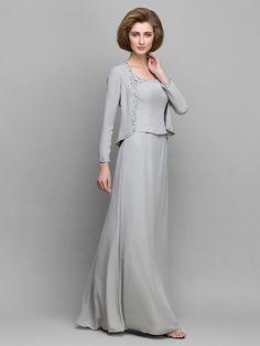 Sheath/Column Mother of the Bride Dress - Silver Floor-length Long Sleeve Chiffon - USD $119.99