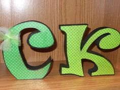 These are a 6 letter , When placed all together, they are just under 2 feet wide. Each letter is cut from 11/8 wood and is free standing. Looks really cute on a mantel or larger shelf. Paper and embellishments may vary depending on availability.