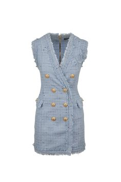 MQ x Valk? | Free Shipping on Balmain - Women's Light Blue Tweed Double-Breasted Sleeveless Dress. Shop online & in-store for the latest designer fashions from Mitchell Stores.