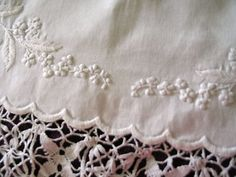 Irish ornately embroidered & Bedfordshire lace chest cover - Mountmellick-like needle work