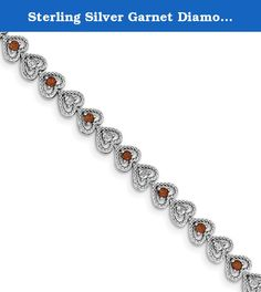 Sterling Silver Garnet Diamond Bracelet. Product Type:Jewelry Jewelry Type:Bracelets Bracelet Type:Gemstones/Natural Stones Material: Primary:Sterling Silver Material: Primary - Color:White Material: Primary - Purity:925 Length of Item:7 in Finish:Polished Plating:Rhodium Chain Length:7 in Chain Width:7 mm Clasp /Connector:Lobster Texture:Textured Profile Type:Open Back Stone Type_1:Garnet Stone Creation Method_1:Natural Stone Treatment_1:Not Enhanced Stone Shape_1:Round Stone Color_1:Red...