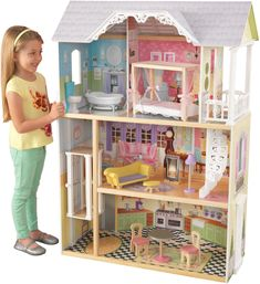 Kidkraft Kaylee Dollhouse - Girls Wooden Doll House Fits Barbie Dolls for sale online Wooden Dollhouse, Wooden Dolls, Queen Canopy Bed, Canopy Beds, Doll House Play, Dream Doll, Black Bedding, Cotton Bedding, Wood Construction