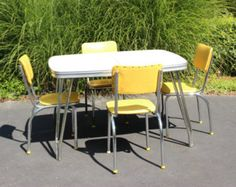Vintage 1950's Chrome Gray Diner Style Kitchen Table with Yellow Chairs