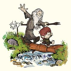 Bilbo and Gandalf, in the style of Calvin and Hobbes