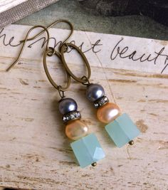 Nora. romantic,sea blue quartz,pearl rhinestone drop earrings. Tiedupmemories