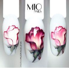 Nail Art Fleur, Rose Nail Art, Flower Nail Art, Funky Nail Art, Funky Nails, Rose Nails Tutorial, Aqua Nails, Nail Drawing, Water Color Nails