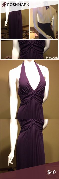 Victoria's Secret Bra Tops Maxi dress SMALL EUC excellent condition!! Victoria's Secret Bra Top Maxi dress size small. Plum colored.  Great for summer. Has built in Bra so one isn't needed.  It is backless with a tie neck. SMALL.  smoke free home.  We do have a large English Mastiff and while she does not roll around on our clothes she does shed horribly so hair flies everywhere.  Everything is freshly laundered before being sent out. #2 Victoria's Secret Dresses Maxi