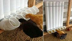 Chicken feeders w/recycled pvc