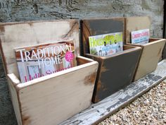 Items similar to FREE SHIP Magazine Rack File Holder Wall Hanging Painted Distressed Wood Wall Storage Box on Etsy Primitive Crafts, Wood Crafts, Diy Crafts, Wall File Holder, Distressed Wood Wall, Brochure Holders, Brochure Display, Wood File, Magazine Holders