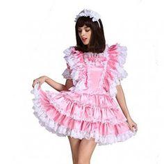 Gocebaby-Sissy-Girl-Maid-Satin-Pink-Lockable-Dress-Costume-Uniform-Crossdressing-0-0