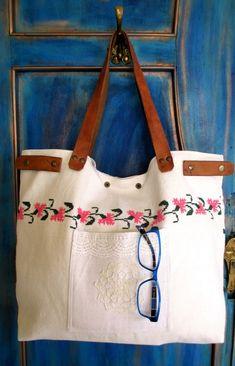 22-V. Hímzett táska/antik vászonhímzés táska/eredeti kézzel hímzett vászon táska/ újrahasznosított vászonhímzés (HarmonicStyle) - Meska.hu