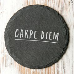 A perfectly hand-crafted gift, this drinks coaster engraved with the inpsirational words 'Carpe Diem' meaning seize the day. 'Carpe Diem' which roughly translates to 'seize the day' is a truely inspiring and motivational quote - This coaster is perfect to grace the desks or coffee tables of those go-getters. This coaster makes a great gift for any family member, friend or work colleague and makes a great stocking filler! One of our rustic edge coasters will brighten your bestie or colleagues day