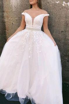 Elegant Tulle Off Shoulder Prom Dresses | Fashiondressy Lace Evening Dresses, Prom Dresses, Formal Dresses, Wedding Dresses, Party Gowns, White Lace, Pink Lace, Princess