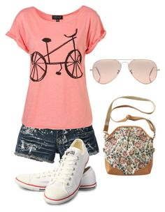 """""""Cute summer outfit!"""" by girl403 ❤ liked on Polyvore featuring Converse, Ray-Ban, women's clothing, women's fashion, women, female, woman, misses and juniors"""