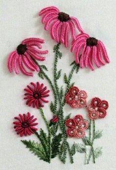 Lovely flowers using bullion, cast-on stitch, etc.