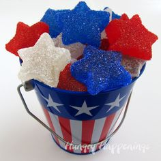 05_Red, White, and Blue Star Shaped Gumdrops, candy, sweet treats, red white and blue food, patriotic recipe