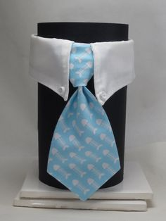 Light Blue Fish Bones Business Cat Tie and Collar by SewSmooth, $17.00