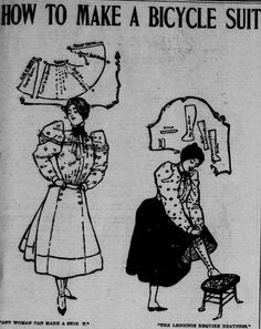 Illustration from an article on how to make a bicycle suit. From the May 9, 1897 Seattle Post-Intelligencer.