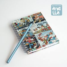Hardcover notebook made with 4 pages from an old «Superlópez» (spanish comic character) comic.