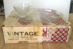 Anchor Hocking Vintage Grape Glass 8 Piece Snack Set in Box #AnchorHocking