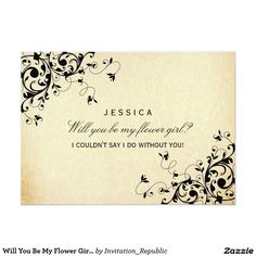 Will You Be My Flower Girl? Elegant Vintage Swirl 5x7 Paper Invitation Card