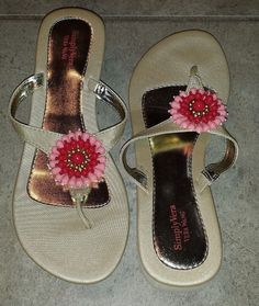 Simply Vera Vera wang beaded floral thong wedge sandals size L (9-10)  #SimplyVeraVeraWang #PlatformsWedges