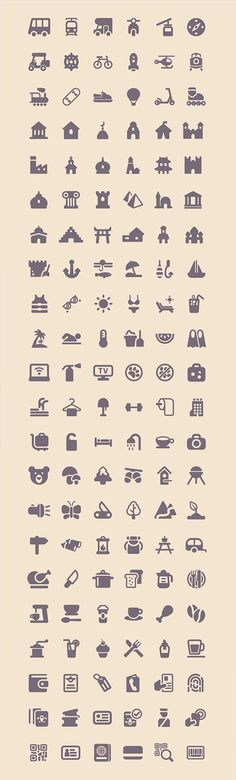 Tourism & Travel Icon Set (100 Icons, PNG, SVG)