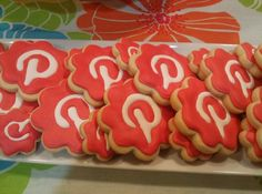 Pinterest cookies for my Pinterest party.- Social Media - Pinned by Toni Marti Red White Scallop One Off
