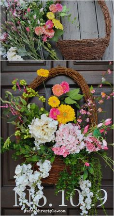 Tips for a Colorful Front Porch! Pretty DIY Door Decor Idea, A Basket Wreat Alternative with Refresh Restyle