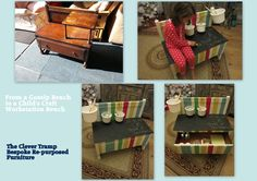 Before & After of a Gossip/Telephone Bench converted into a child's play/workstation with storage! Come and join me on my FB page www.facebook.com/...