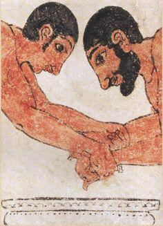 Tarquinia Tomba degli Auguri Dettaglio della parete destra con due lottatori che combattono sopra un lebete di bronzo (verso 520 a.C)