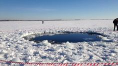 Hole in the ice of Lake Chebarkul (Russia) caused by the impact of the Chelyabinsk meteorite - www.galactic-stone.com - #meteorite #space #Russia #chebarkul #meteor #chelyabinsk