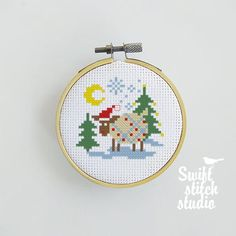 Sheep Cross Stitch, Santa Cross Stitch, Baby Cross Stitch Patterns, Cross Stitches, Pattern Images, Fuse Beads, Christmas Cross, Etsy App, Beautiful Christmas