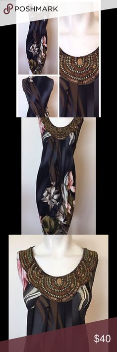Beaded neck dress Intricate beaded neck loose dress. Has Aline shape. Fabric has satin finish. Very soft and silky to the touch. Dress Barn Dresses