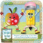 Party Pencil and Apple Paper Piecing set