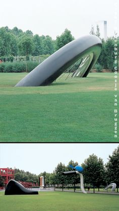 Large scale replicas of everyday objects created by award-winning sculptors Claes Oldenburg and Coosje van Bruggen.  -- buried bicycle in paris